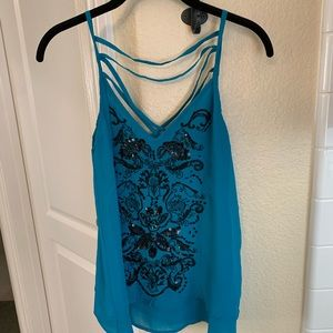 Angie - Teal Sequined Tank - Size S